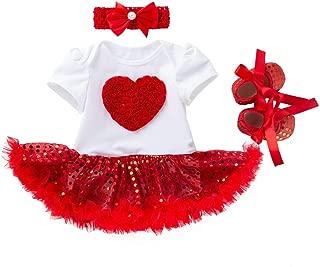 Newborn Baby Girl First Valentines Day Dress Outfit Sweet Heart Sequin Tutu Skirt Dress Shoes Headbands 3Pcs Clothes Set