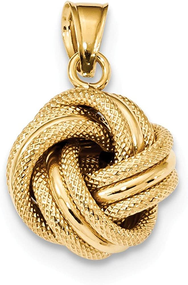 14k Yellow Gold Textured Love Knot Pendant Charm Necklace Fancy Fine Jewelry For Women Gifts For Her