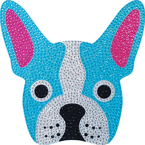 iscream Sparkly Rhinestone French Bleu Bulldog 2' Mini Vinyl Cling Decal