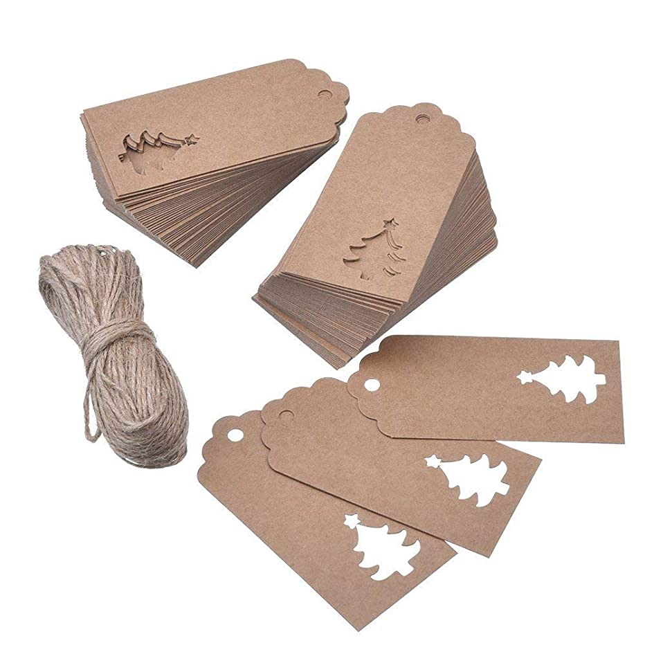 Megrocle 100pcs Kraft KPaper Gift Tags Hollow Christmas Tree Design with 33 feet Natural Jute Twine for Christmas Gift Favor,DIY Arts and Crafts Wedding Supply (Brown)