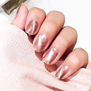 Drecode Fashion False Nails Cat Eye Short Oval Fake Nails Wedding Birthday Party Clip on Nails for Women and Girls (Pink)