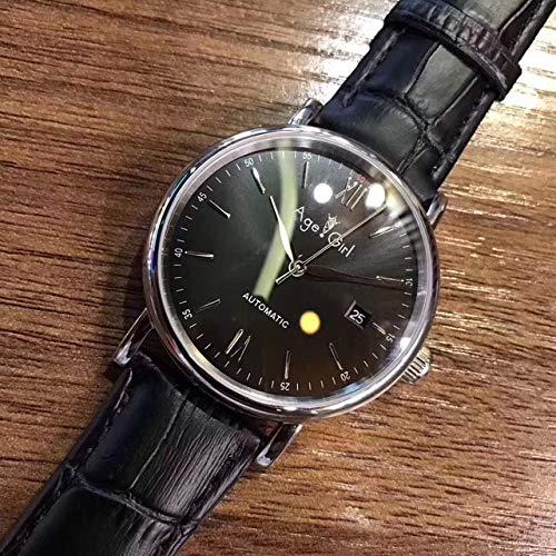 YDMZMS automatische mechanische Herrenuhren Edelstahl Saphir Silber Roségold Leder Schwarz Braun Uhr 40mmSchwarz