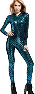 Women Mermaid Halloween Costume Bodysuit Anime Cosplay Hood Jampsuit&Rompers