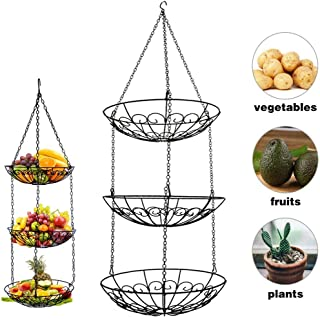 3 Tier Fruit Basket, Vegetable Kitchen Storage Basket Chain Hanging Space Saving Rustic Country Style Chicken Wire Fruits, Produce, Plants Storage Basket