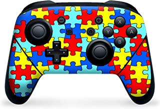 Nintendo Switch Pro Controller Skin Decal Vinyl Wrap - colorful puzzle pieces autism