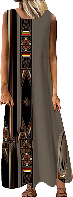 Akklian Summer Dresses for Women Crewneck Shift Sleeveless Floral Dress Ladies Casual Beach Party Dress