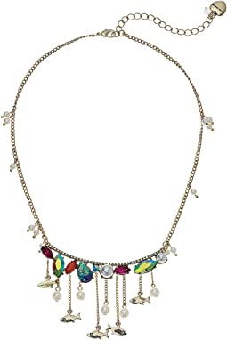 Betsey Johnson - Colorful Stone and Pearl Fish Frontal Necklace