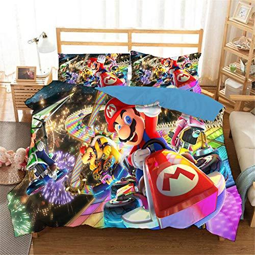 AMTAN 3D SuperMario Duvet Cover Set Boys Girl Bedding Set 100% Microfiber Kids Teen Adult Bed Set 3 Piece 1 Duvet Cover+2 Pillow Shams Twin Full Queen King Size