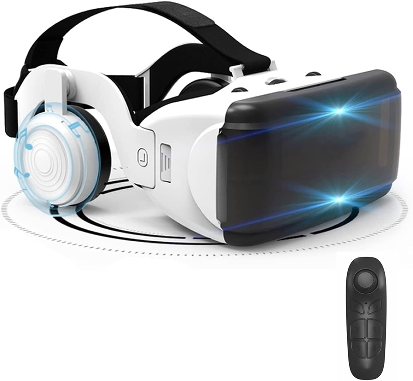 VR Headset with Controller Bluetooth Virtual Reality Headsets 3D Glasses VR Goggles for 3D VR Movies Video Games for iPhone 12/11/Pro/X/Xs/Max/XR/Mini/8/7/6, for Android Samsung S/20/10/9/8/Plus/Note