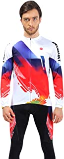 96d9820e5 Aooaz Men s Cycling Clothes Suit Long Sleeve Bike Shirt Tights Biking  Outfit White Size M Accessory for Cycling
