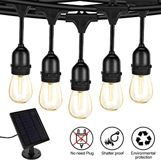Fule Solar String Lights,S14 LED Outdoor String Light 48FT Heavy Duty,15 Hanging Sockets,1W Plastic Vantage Bulbs,Create Ambiance for Backyard Party Decoration/Cafe/Garden/Patio