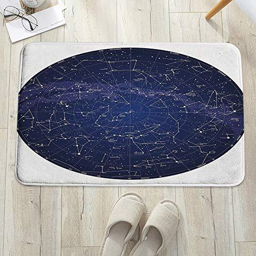 Tapis de Bain Antidérapant,Constellation, carte détaillée du ciel de l