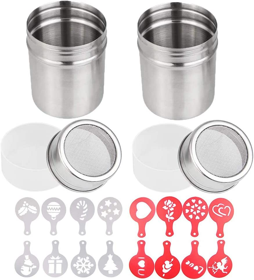 2 Pcs 10oz Stainless Steel Powder Shakers, TuNan Coffee Cocoa Cinnamon Dredges with Fine-Mesh Lid, Sugar Spice Seasoning Cans for Kitchen Cooking Baking Home Restaurant, with 16 Decorating Stencils