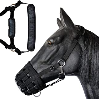 Prairie Horse Supply Deluxe Comfort Lined Grazing Muzzle, Heavy Duty Waffle Neoprene with Chin and Neck Pads Arab PHS-Graz...