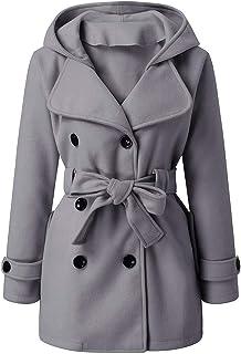 Women's Hooded Lapel Pea Coat, Fankle Sale Wool Blend Trench Coat with Belt, Winter Warm Pocket Jacket Parka Overcoat