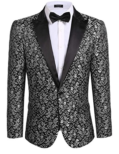 Coofandy Men's Floral Party Dress Suit Stylish Dinner Jacket Wedding Blazer One Button Tuxdeo, Grey, US S(Chest 42.9)