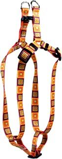 "Yellow Dog Design Orange Blocks Step-In Dog Harness, X-Small-3/8"" Wide and fits Chest of 4.5 to 9"""