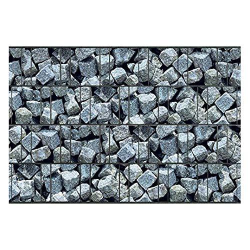 PerfectHD Zaunsichtschutz | 32 Motive | Sichtschutzstreifen für Doppelstabmattenzaun | Windschutz Sonnenschutz Blickdicht | Polyester Gewebe | PVC frei | 26m Rolle | 19cm | Granitwürfel