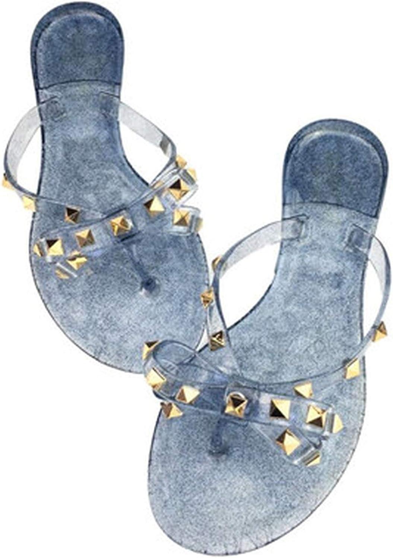 Women Sandals Flat Jelly shoes Bow V flip Flops Stud Beach shoes