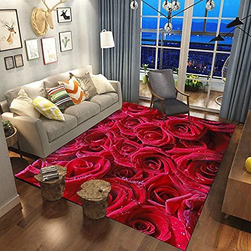 danyangshop Alfombras con Estampado 3D De Flores Rosas Rojas Y Rosas, Decoración De Boda, Alfombras De Gran Área, para El Hogar del Día De San Valentín, para Habitación De Niña 120X180Cm