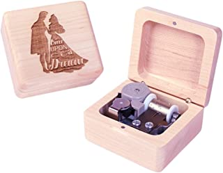 Sinzyo Wood Music Box Mini Music Box with Sankyo Movement Play Once Upon a December Music Box for Christmas Birthday Box