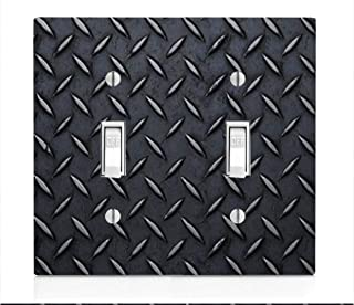 Black Diamond Plate Sheet Metal with Grooves Double Light Switch Plate