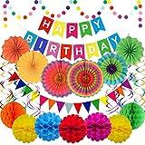Geburtstagsdeko Bunt, Bunte Partydeko Geburtstag Set, Happy Birthday Banner, Papierfächer, Pompoms, Wimpel Girlande, Punkte Girlande, Reusable Party Deko Set für Geburtstagdeko mädchen jungen kinder