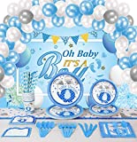 Baby Shower Decorations For Boy - 194 Pcs Blue Elephant Design Party Supplies Including It's A Boy Banner Backdrop Background, Plates, Cups, Tableware, Napkins, Tablecloth, Invitation Card, Balloons, Service 16