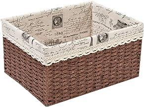 YAYADU Storage Basket Finishing Box High Capacity Toy Books Clothes Snacks Cotton Lining Locker Shoebox Dressing Table (Co...