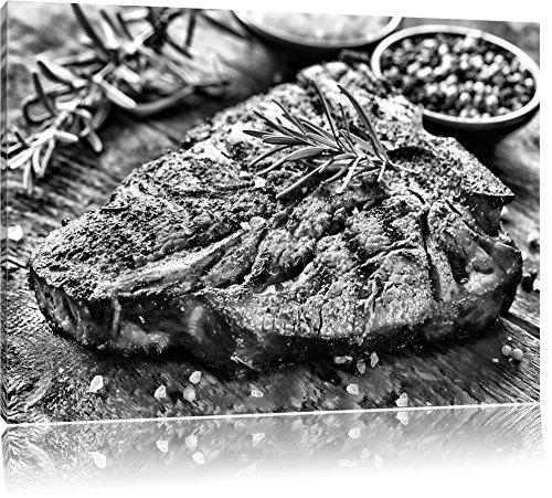 Pixxprint Leckeres Fleisch mit Rosmarin / 60x40cm Leinwandbild bespannt auf Holzrahmen/Wandbild Kunstdruck Dekoration