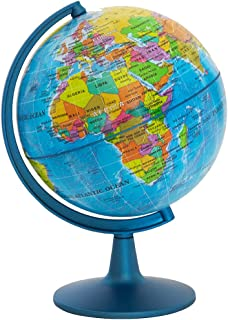 "Globe GeoClassic Globe Waypoint - 6 ""(10 سانتی متر) اقیانوس آبی با نقشه نگاری UP-TO-DATE - 100 مورد از نقاط مورد علاقه - پایه وزنی کاملاً ساخته شده - مناسب برای مرجع یا دکوراسیون آموزشی"