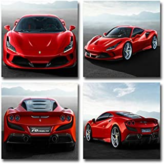 AtfArt 4 Piece Red Ferrari Sports Car Canvas Painting for Living Room Home Decor Canvas Art Wall Poster Print Frame Ready to Hang(Frame)
