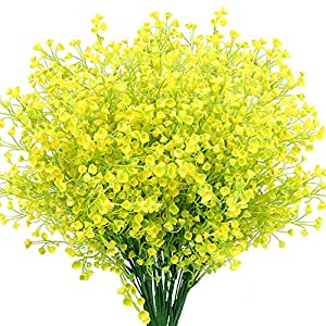 KLEMOO Artificial Shrubs Bushes 8 Pack Fake Outdoor UV Resistant Plants Flowers, Faux Plastic Bell Leaves Greenery for Indoor Outside Hanging Planter Home Office Wedding Farmhouse Decor (Yellow)