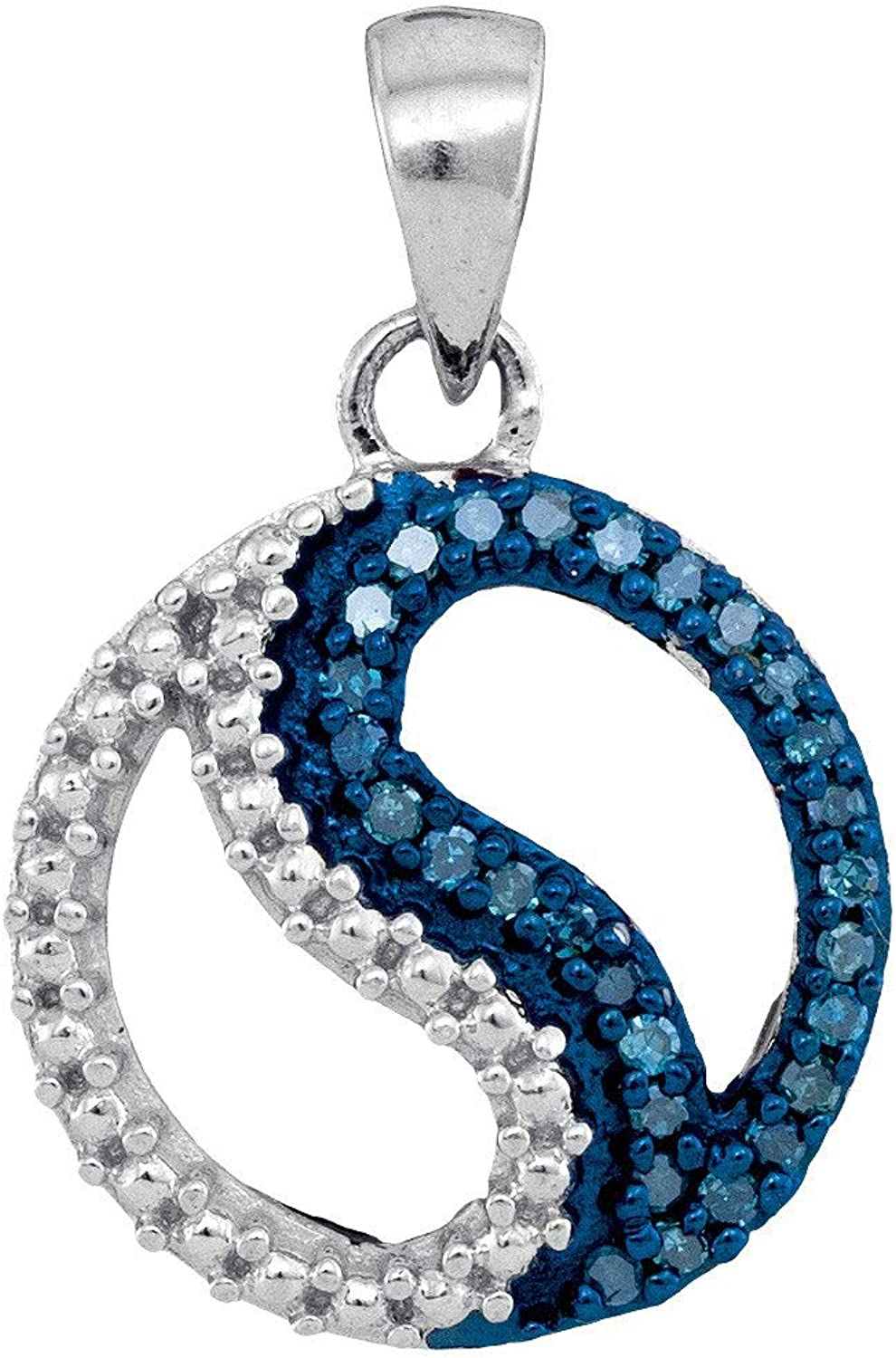 10kt White gold Womens Round bluee color Enhanced Diamond Circle Ying Yang Pendant 1 10 Cttw