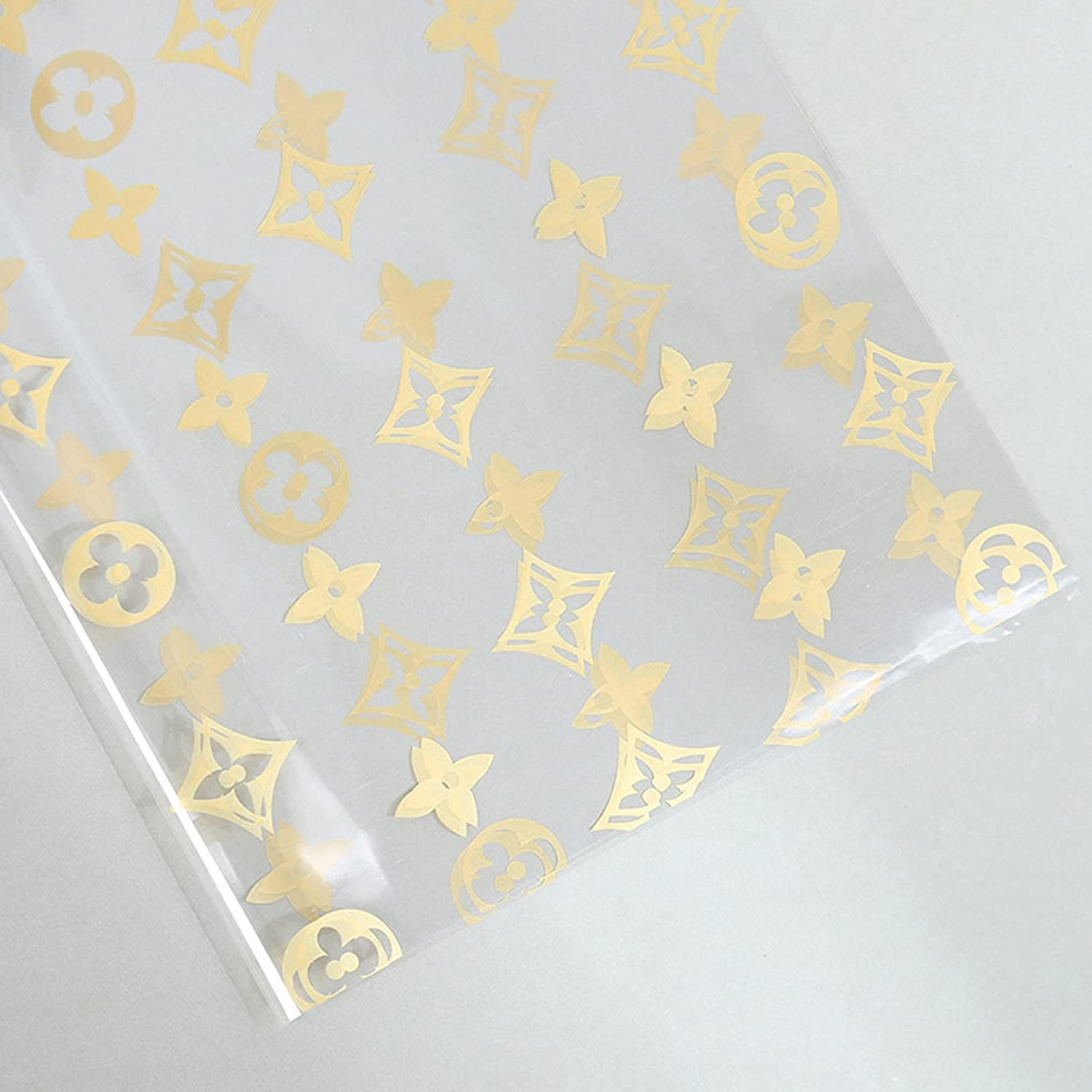 Printing Flower Oakland Mall Transparent Golden Cellophane All stores are sold Waterproof