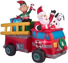 Inflatable Christmas Santa Fire Truck Scene Lighted Holiday Seasonal Yard Décor