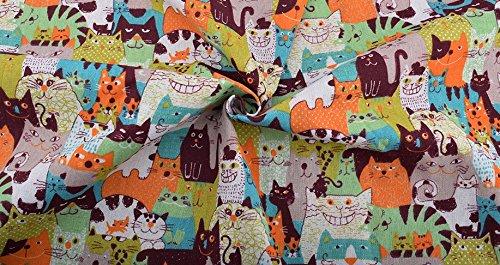 Tela gato hipster por metros 1 unidad es 50 cm. x 1.50 m.cortinas, cojines, caravanas, 100% algodon manualidades de CHIPYHOME