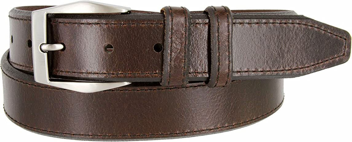 Mens Lejon Belt- The Corporate Full Grain Genuine Leather Dress Belt In Brown Made In USA