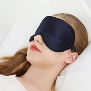 100% Silk Sleep Mask for A Full Night's Sleep | Comfortable & Super Soft Eye Mask with Adjustable Strap | Works with Every Nap Position | Ultimate Sleeping Aid/Blindfold, Blocks Light(Navy blue)