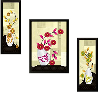 SAF UV Textured Flower Print Framed Painting Set of 3 for Home Decoration – Size 35 x 2 x 50 cm SANFSA51