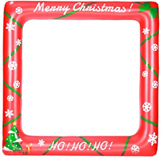 BESTOYARD Christmas Inflatable Frame Blow Up Selfie Party Props for Christmas Photo Booth Props Family Reunions Party Deco...