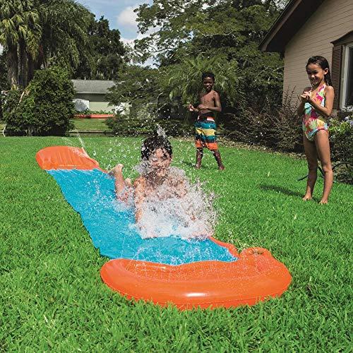 N/L 18ft X 32in Splash Sprint Racing Water Slide - Slip and Slide Surf Rider Sliding Lanes, Inflatable Water Slide Kids Park Backyard Play Fun Outdoor Splash Slide