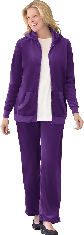 Woman Within Women's Plus Size 2-Piece Velour Hoodie Set Sweatsuit - 22/24, Radiant Purple White