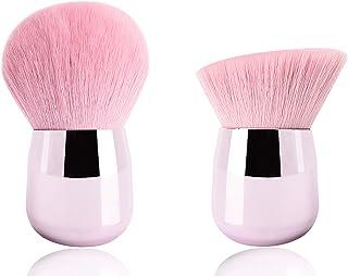 2PCS Makeup Brushes Face Powder Foundation Brushes, Round Blush Brush Kabuki Brushes Contour Blending Bronzer Cosmetics Brushes