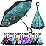 Owen Kyne Windproof Double Layer Folding Inverted Umbrella, Self Stand Upside-Down Rain Protection Car Reverse Umbrellas with C-Shaped Handle (Almond Blossom Tree)