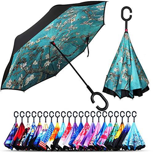 Owen Kyne Guarda-chuva invertido com camada dupla à prova de vento, com suporte de proteção contra chuva e de cabeça para baixo, guarda-chuvas reversíveis para carro com alça em formato de C, Almond Blossom Tree