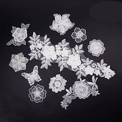 NBEADS 10 Pcs White Mix Style Embroidery Lace Flower Patches Appliques DIY Sewing Craft for Decoration, Sew On Patches for Repairing and Decorating Clothing, Bags