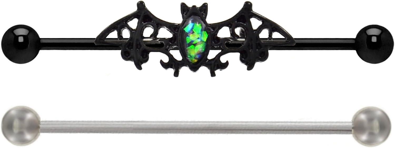 playful piercings Synthetic Green Glitter fire Opal Black Goth Bat & 2 Bars Black & Steel Industrial Barbell Rings 14g
