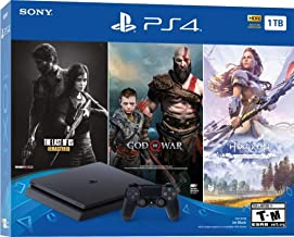 PlayStation 4 Slim 1TB Solid State Drive Only on PlayStation Console Bundle | Bundle : God of War Game Voucher,Horizon Zero Dawn: Complete Edition Voucher,The Last of Us Remastered Game | Jet Black
