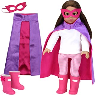 Sophia's 18 Inch Doll Clothes 3 Pc. Set of Purple & Hot Pink Super Hero Cape, Mask & Hot Pink Rain Doll Boots for 18